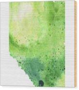 Watercolor Map Of Alberta, Canada In Green  Wood Print