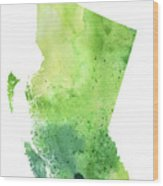Watercolor Map Of British Columbia, Canada In Green  Wood Print
