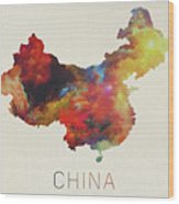 Watercolor Map Of China Wood Print