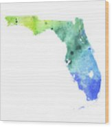 Watercolor Map Of Florida,  In Blue And Green  Wood Print