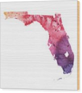 Watercolor Map Of Florida,  In Orange, Red And Purple  Wood Print