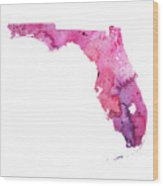 Watercolor Map Of Florida, In Pink And Purple Wood Print