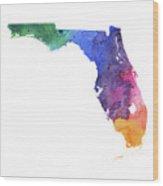 Watercolor Map Of Florida,  In Rainbow Colors  Wood Print