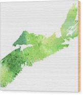 Watercolor Map Of Nova Scotia, Canada In Green  Wood Print