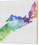Watercolor Map Of Nova Scotia, Canada In Rainbow Colors  Wood Print