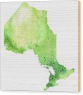 Watercolor Map Of Ontario, Canada In Green  Wood Print