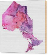 Watercolor Map Of Ontario, Canada In Pink And Purple  Wood Print