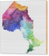 Watercolor Map Of Ontario, Canada In Rainbow Colors  Wood Print