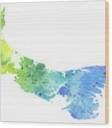 Watercolor Map Of Prince Edward Island, Canada In Blue And Green  Wood Print