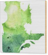 Watercolor Map Of Quebec, Canada In Green  Wood Print