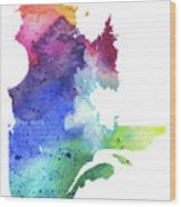 Watercolor Map Of Quebec, Canada In Rainbow Colors  Wood Print