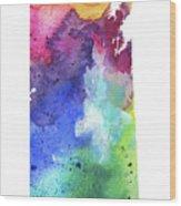 Watercolor Map Of Saskatchewan, Canada In Rainbow Colors  Wood Print