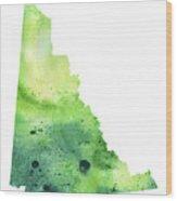 Watercolor Map Of Yukon, Canada In Green Wood Print