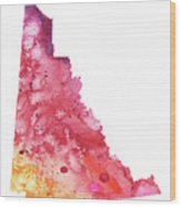 Watercolor Map Of Yukon, Canada In Orange, Red And Purple  Wood Print