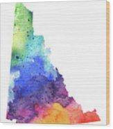 Watercolor Map Of Yukon, Canada In Rainbow Colors  Wood Print