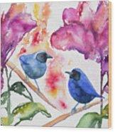 Watercolor - Masked Flowerpiercers With Flowers Wood Print