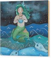 Watercolor Mermaid Feeding Her Narwhals Wood Print