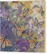 Watercolor- Monarchs In Flight Wood Print