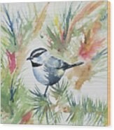 Watercolor - Mountain Chickadee And Pine Wood Print