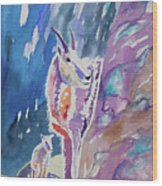 Watercolor - Mountain Goat With Young Wood Print