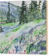 Watercolor - Mountain Pines And Indian Paintbrush Wood Print