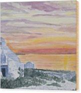 Watercolor - Mykonos Sunset Wood Print