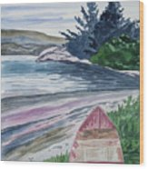 Watercolor - New Zealand Harbor Wood Print
