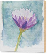 Watercolor Of Lotus Flower. Wood Print