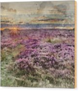 Watercolor Painting Of Beautiful Dawn Sunrise Landscape Image Of Heather On Higger Tor In Summer In  Wood Print