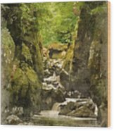 Watercolor Painting Of Beautiful Ethereal Landscape Of Deep Sided Gorge With Rock Walls And Stream F Wood Print