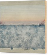 Watercolor Painting Of Beautiful Seascape Image Of Calm Ocean At Sunset Wood Print