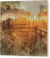 Watercolor Painting Of Beautiful Sunrise Landscape Over Foggy English Countryside With Glowing Sun Wood Print