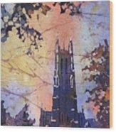 Watercolor Painting Of Duke Chapel On The Duke University Campus Wood Print