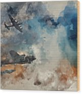 Watercolor Painting Of Flight Formation Of Battle Of Britain World War Two Consisting Of Lancaster B Wood Print