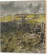 Watercolor Painting Of Public Footpath Signposts In Landscape In Wood Print