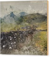 Watercolor Painting Of Stunning Landscape Of Chrome Hill And Parkhouse Hill Dragon's Back In Peak Di Wood Print
