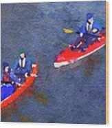 Watercolor Painting Of Two Canoes Wood Print