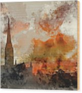 Watercolor Painting Of Winter Frosty Sunrise Landscape Salisbury Wood Print