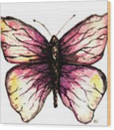 Watercolor Pink Butterfly Wood Print