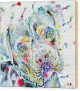 Watercolor Pit Bull.2 Wood Print