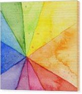 Watercolor Rainbow Beachball Pattern Wood Print