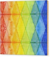 Watercolor Rainbow Pattern Geometric Shapes Triangles Wood Print