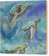 Watercolor - Sea Turtles Swimming Wood Print