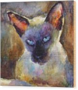 Watercolor Siamese Cat Painting Wood Print by Svetlana Novikova