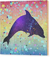 Watercolor Silhouette - Dolphin  Porpoise Wood Print