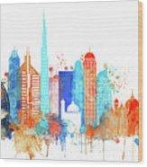 Watercolor Skyline Of Dubai Wood Print