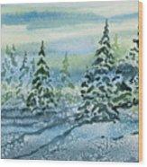 Watercolor - Snowy Winter Evening Wood Print