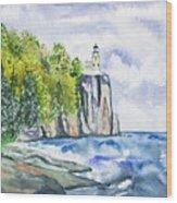 Watercolor - Split Rock Lighthouse Wood Print