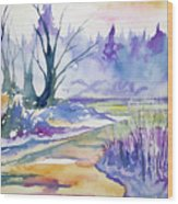 Watercolor - Stream And Forest Wood Print