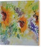 Watercolor Sunflowers Wood Print